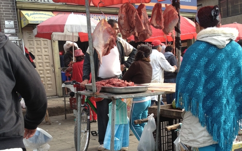 Compra de carne.