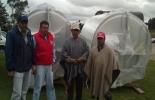 De izquierda a derecha: Saúl Quipo Representante Alpina S.A., Arturo Ortiz  coodinador UMATA Guachucal,  Fidencio Reina de Asoviguasar, beneficiario, Manuel Tarapues,
