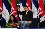 El presidente de Nicaragua, Daniel Ortega, durante una ceremonia en Managua este lunes  © AFP hector retamal