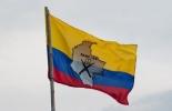 La bandera de las FARC en una calle entre Corinto y Caloto, departmento del Cauca, Colombia.  © AFP Luis Robayo