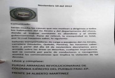 Fotografía del comunicado de las Farc