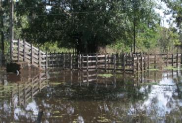 El boquete en Santa Anita, ha afectado diversos predios en el sur de Sucre. Foto: Archivo.