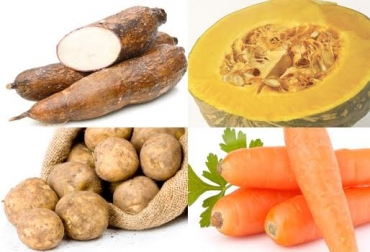 Yuca, papa, auyama, zanahoria