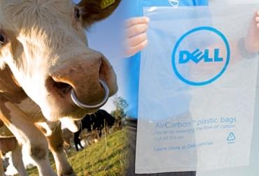 Bolsa plásticas hechas con gas metano de vacas